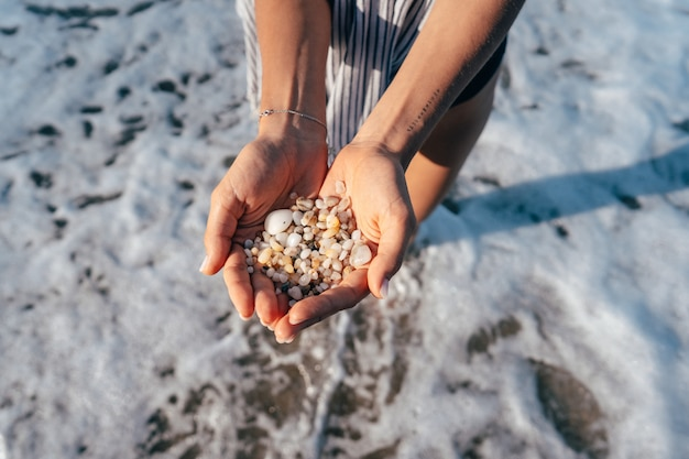 Les mains des femmes tiennent beaucoup de petits cailloux Photo gratuit