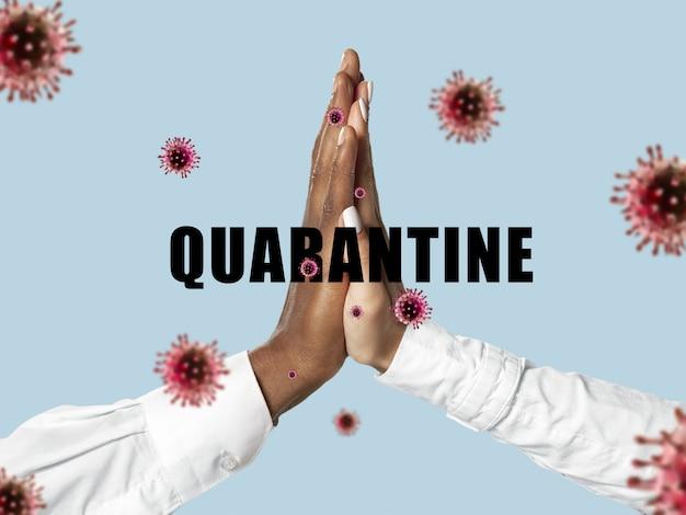 Les Mains Humaines Tremblent, évitez Les Salutations Pendant L'épidémie De Coronavirus Photo gratuit