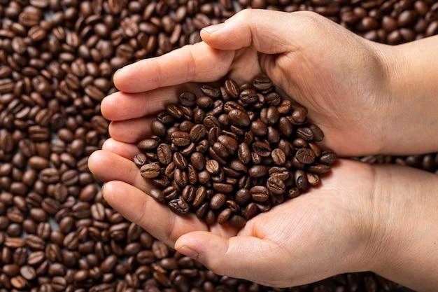 Mains Laïques Plates Tenant Des Grains De Café Photo gratuit