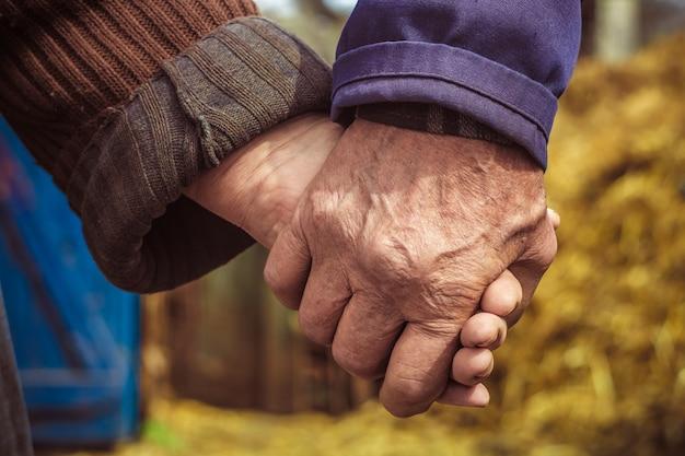 Les mains des personnes âgées, des paysans. Photo Premium