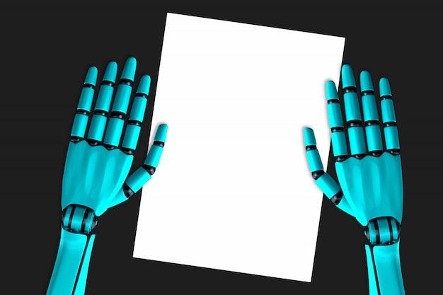Mains de robot et une feuille de papier vierge posée sur la table Photo Premium