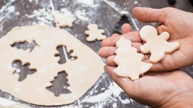 Mains tenant homme et sapin en forme de pâtisserie Photo gratuit