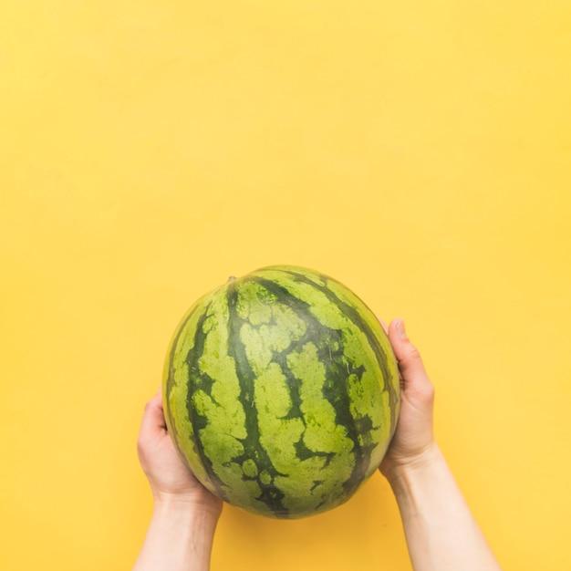 Mains tenant la pastèque entière Photo gratuit