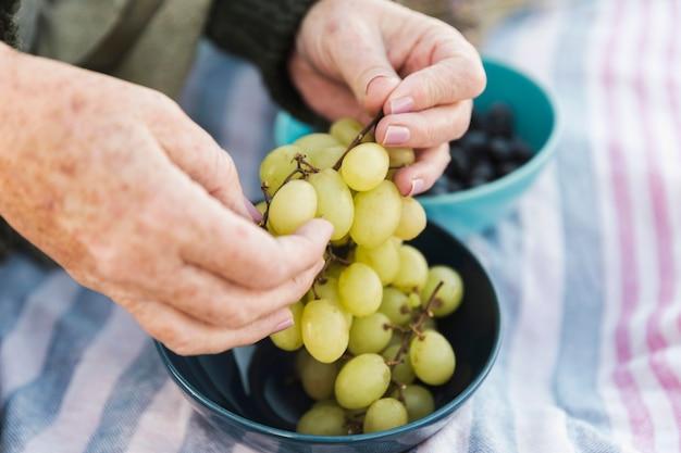 Mains Tenant Des Raisins Frais Photo gratuit