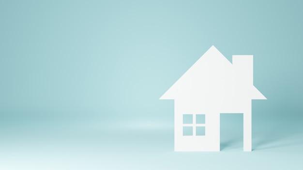 Maison Blanche Isolée. Illustration De Rendu 3d. Photo Premium