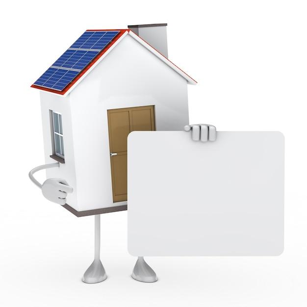 Maison écologique tenant un panneau blanc Photo gratuit