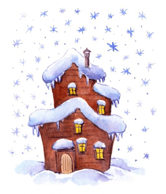 Maison de fantaisie d'hiver aquarelle Photo Premium