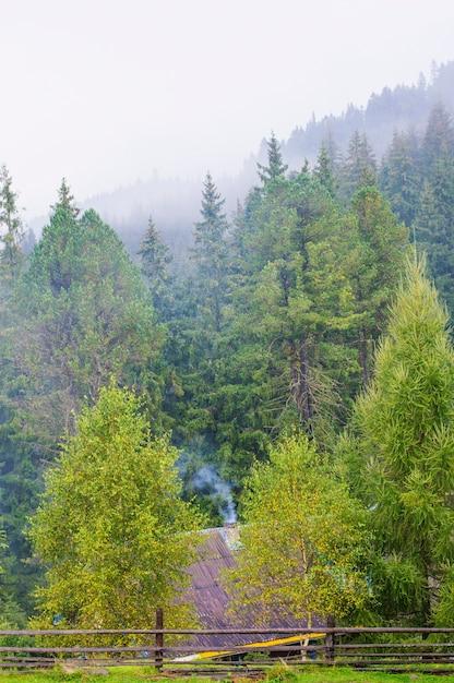 Maison sur le fond des montagnes et des forêts, ferme, montagnes du village, fumée de la cheminée Photo Premium