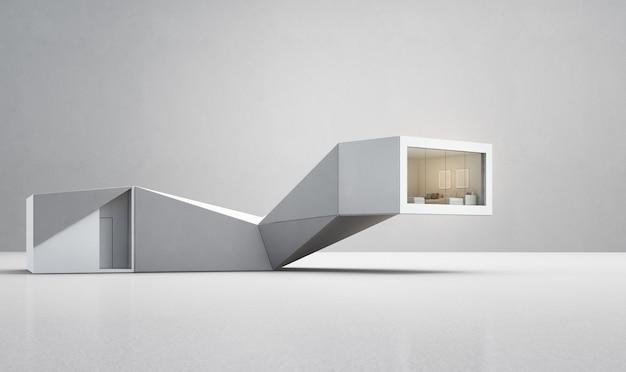 Maison De Formes Géométriques Sur Sol Blanc Avec Mur De Béton Vide Dans Le Concept De Maison Intelligente. Photo Premium