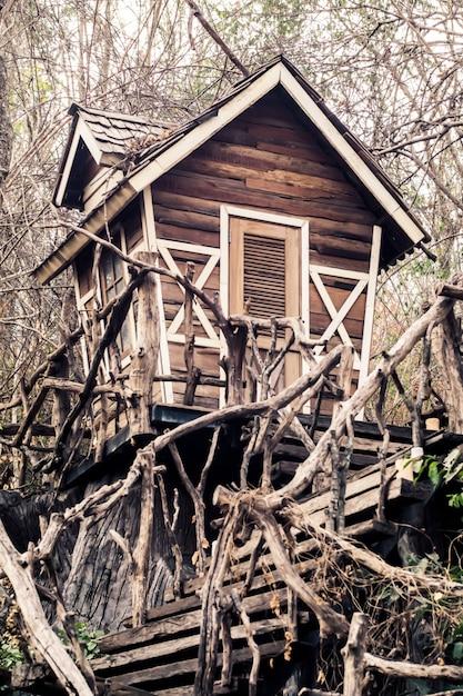 Maison hantée abandonnée dans la forêt magique Photo Premium