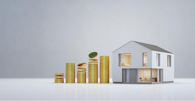 Maison Moderne Avec Des Pièces D'or Dans L'investissement Immobilier Et Le Concept De Croissance Des Entreprises. Photo Premium