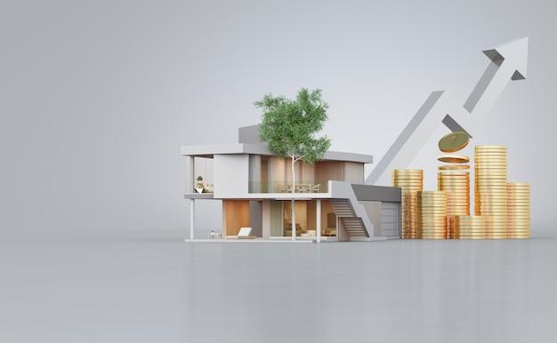 Maison Moderne Sur Sol En Béton Avec Espace Copie Blanc En Vente Immobilière Ou Concept D'investissement Immobilier. Photo Premium
