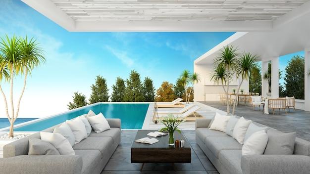 Une maison de plage moderne, piscine privée Photo Premium