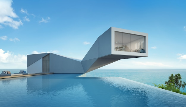 Maison Vue Mer Avec Piscine Au Design Moderne. Photo Premium