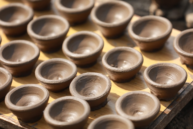 Making lamp clay, festival de diwali Photo Premium