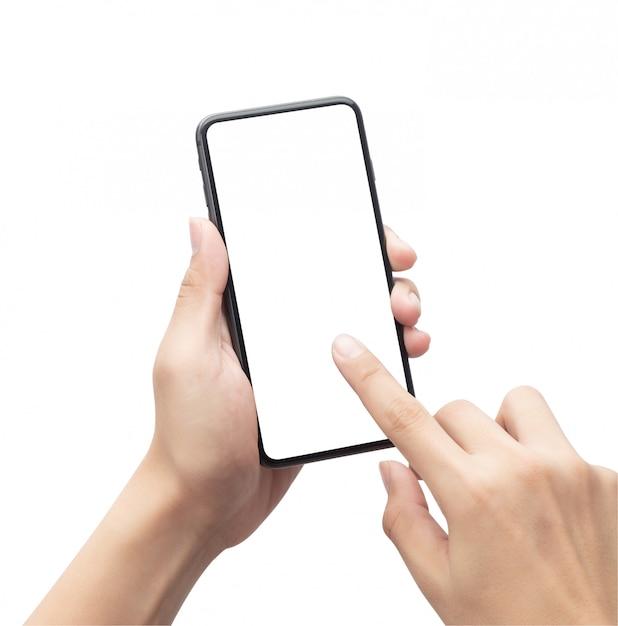 Mâle Main Tenant Le Smartphone Noir Et Touchant Sur écran Blanc Isolé Photo Premium