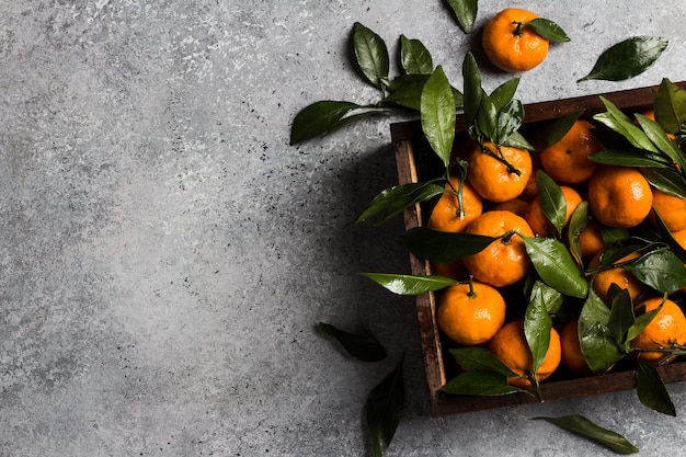 Mandarines aux feuilles vertes dans une boîte en bois éclairée Photo gratuit