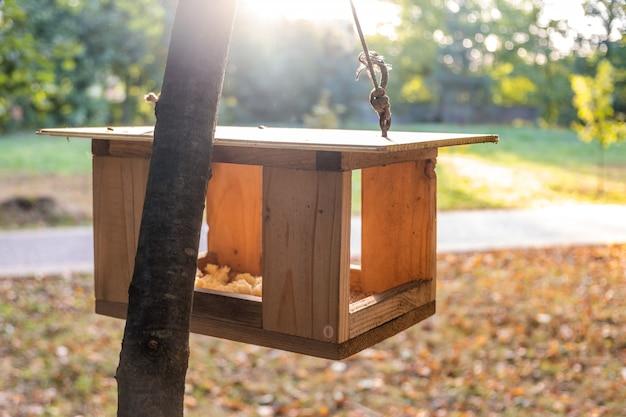Mangeoire à Oiseaux En Bois Maison Sur Un Arbre Dans Le Parc Automne. Concept De Soins De La Faune Animale. Photo Premium