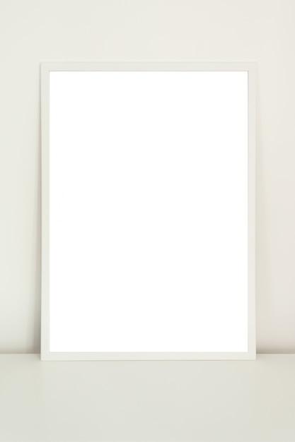 Maquette Affiche Dans Un Cadre Blanc Sur Fond Blanc Photo Premium
