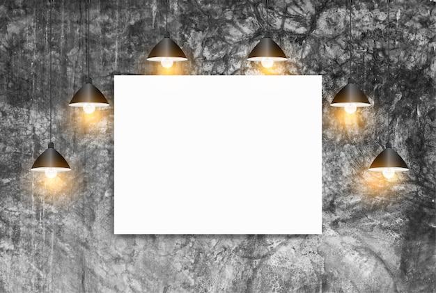Maquette affiche avec mur de briques blanches plafonniers, concept d'espace de travail loft Photo Premium