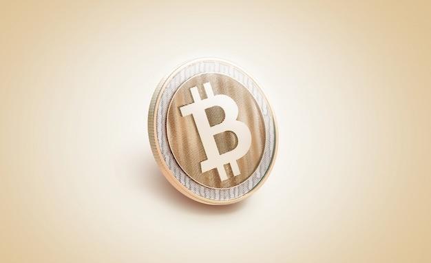 Maquette de bitcoin brillant or blanc, Photo Premium