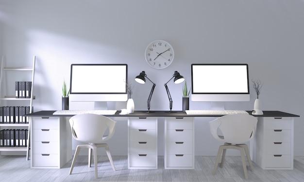 Maquette de bureau avec un design confortable blanc et une décoration sur la salle blanche et un plancher en bois blanc Photo Premium