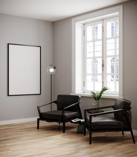 Maquette Cadre D'affiche En Arrière-plan Intérieur Moderne, Salon, Style Scandinave, Rendu 3d, Illustration 3d Photo Premium