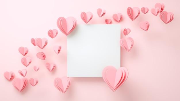Maquette De Cadre Avec Concept D'amour. Saint Valentin, Fête Des Mères, Invitation De Mariage. Rendu 3d Photo Premium