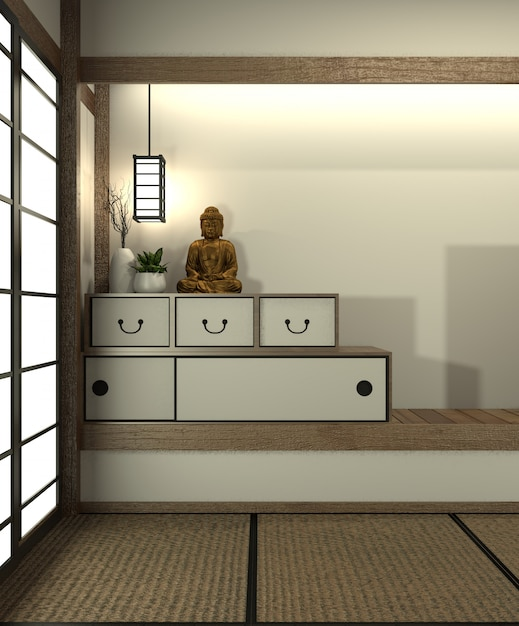 Maquette De Chambre Au Japon Avec Sol En Tatami Et ...