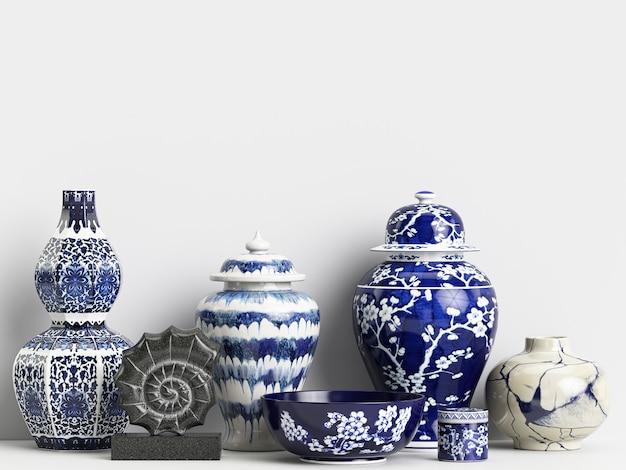 Maquette De Décoration Intérieure Avec Des Pots De Gingembre Chinois Et Des Coraux Photo Premium