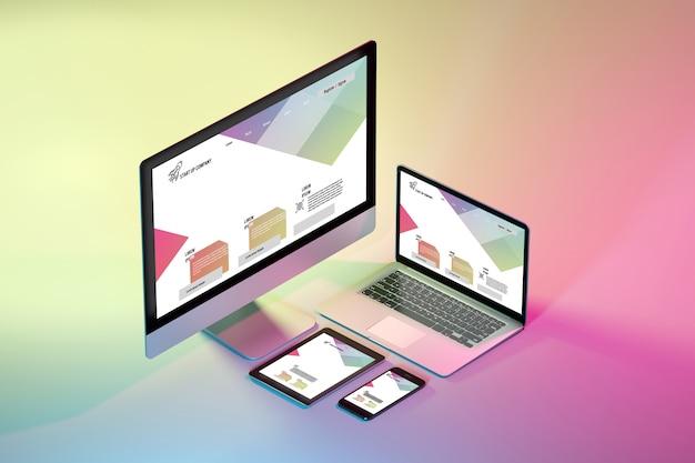 Maquette de dispositifs isométriques sur un rendu coloré - 3d Photo Premium