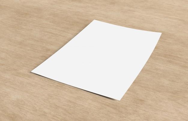 Maquette d'une feuille de papier isolé sur un fond avec ombre - rendu 3d Photo Premium