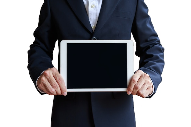 Maquette D'homme D'affaires Tenant Une Tablette Numérique Photo Premium
