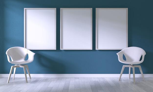 Maquette image affiche avec une chaise blanche sur la chambre mur bleu foncé sur un plancher en bois blanc Photo Premium