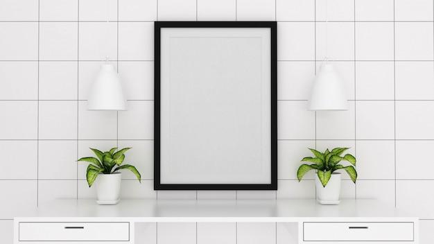 Maquette image affiche avec fond intérieur, rendu 3d Photo Premium