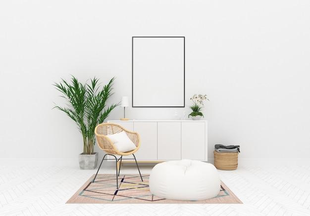 Maquette intérieur scandinave oeuvre verticale verticale Photo Premium