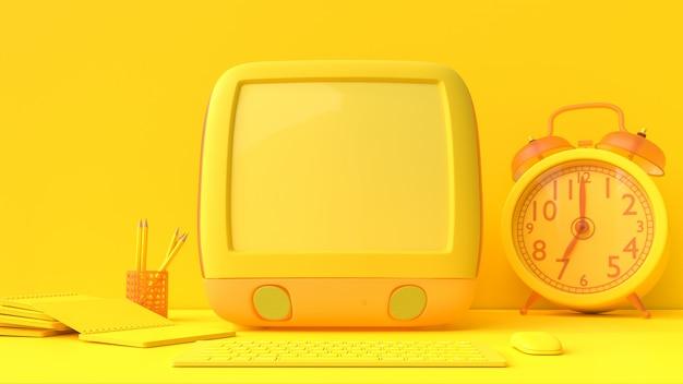 Maquette jaune pour ordinateur portable Photo Premium