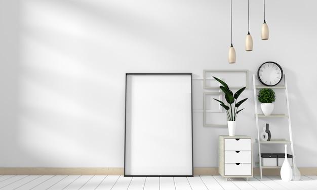 Maquette moderne dans un salon blanc avec un plancher en bois blanc. rendu 3d Photo Premium