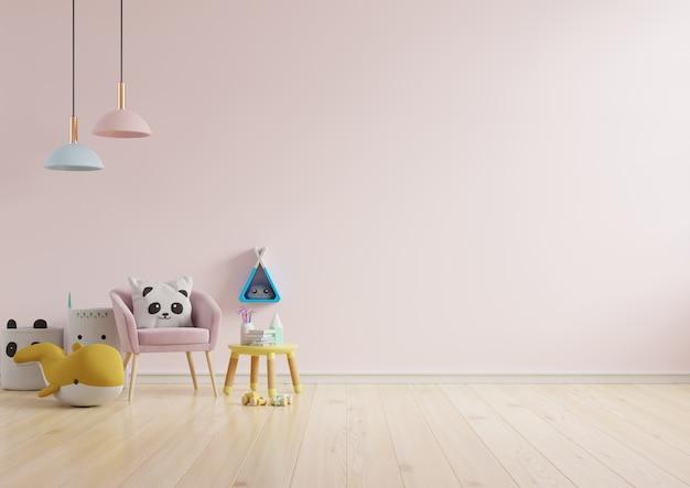 Maquette De Mur Dans La Chambre Des Enfants En Fond De Mur De Couleur Rose Clair .3d Rendu Photo Premium
