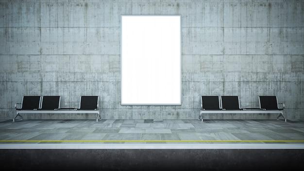 Maquette de panneau d'affichage vide sur la station de métro Photo Premium