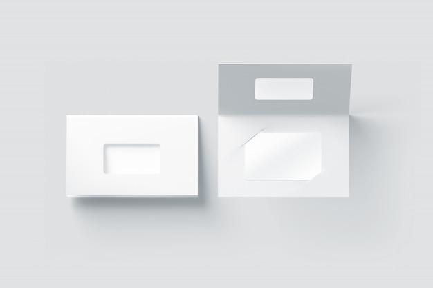 Maquette en plastique blanc vierge à l'intérieur du porte-livret en papier Photo Premium