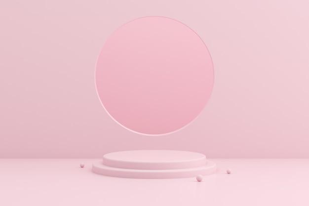 Maquette De Podium Géométrique Sur Espace Rose. Photo Premium