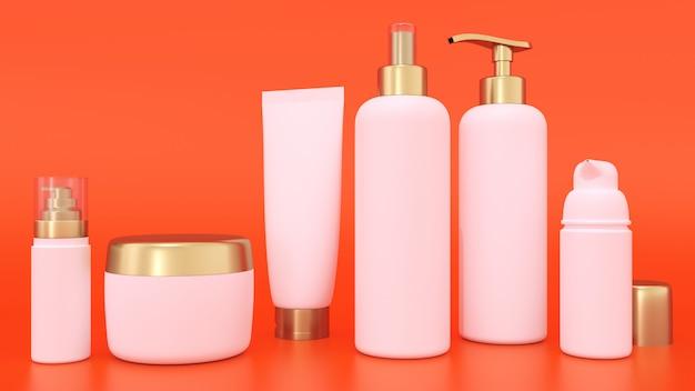Maquette de rendu 3d pour contenants de cosmétiques Photo Premium