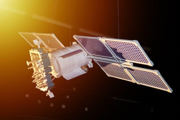 Maquette de satellite spatial sur fond sombre Photo Premium