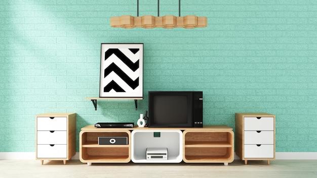 Maquette de télévision sur le mur de menthe dans le salon japonais. rendu 3d Photo Premium