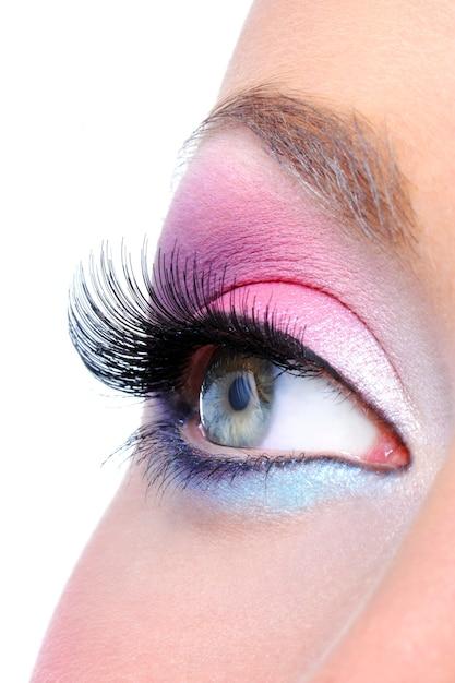 Maquillage Des Yeux Avec Des Couleurs Vives Saturetad - Macro Shot Photo gratuit