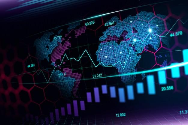 Marché boursier ou graphique de trading forex au concept futuriste Photo Premium