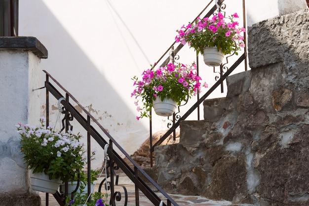 Marches En Pierre Anciennes Avec Des Pots De Fleurs Avec Des Pétunias Roses, Blancs Et Violets. Photo Premium