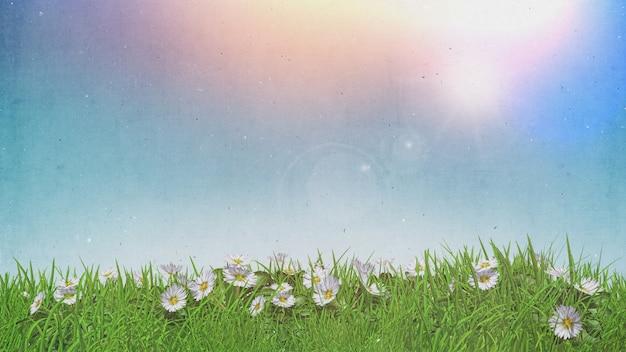 Marguerites 3d dans l'herbe ciel ensoleillé avec effet rétro grunge Photo gratuit