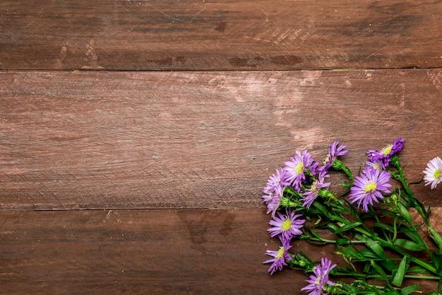 Marguerites violettes sur fond en bois Photo gratuit